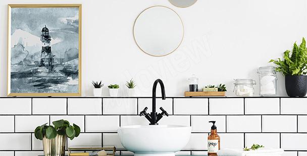 Geometrisches Triptychon für Bad