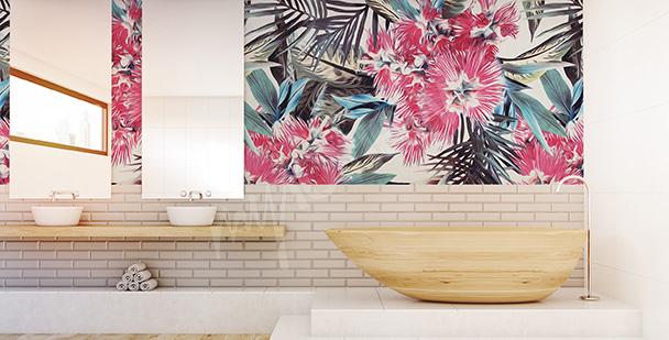 Badezimmer-Fototapete exotische Blumen