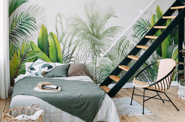 Fototapete Blätter und Palmen