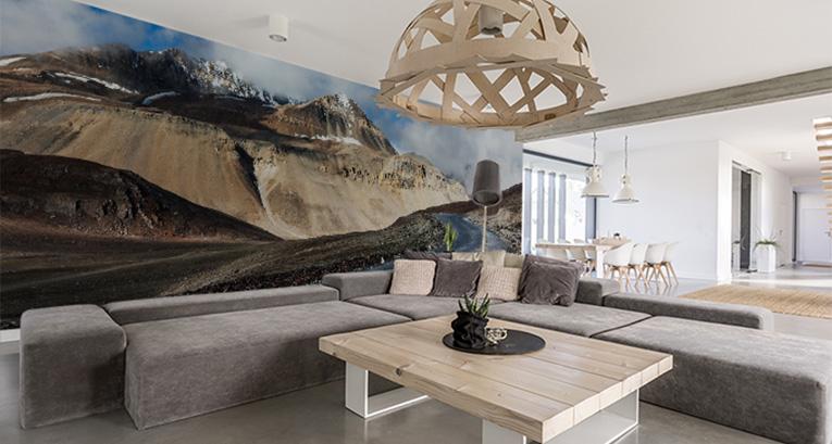 3 Wohnzimmerdekorationen mit der Fototapete als Hauptmotiv