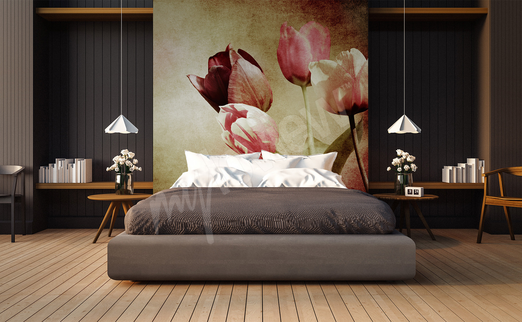 fototapeten tulpen gr e der wand. Black Bedroom Furniture Sets. Home Design Ideas