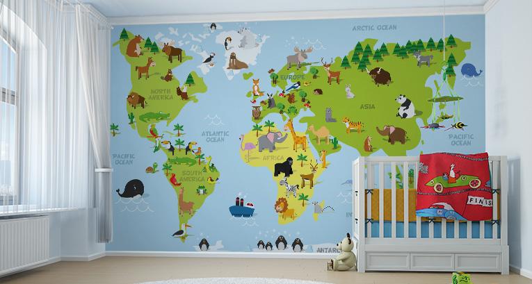 Fototapete Weltkarte: eine Weltkarte für die kleinen Reisenden