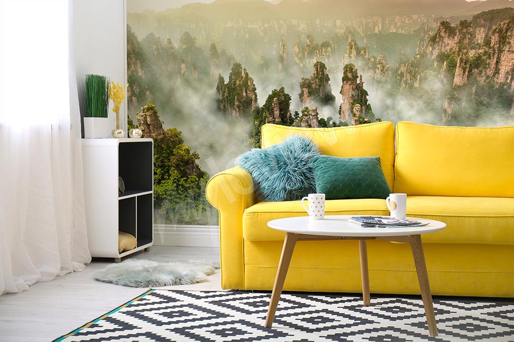 Räumliche Fototapete für das Wohnzimmer