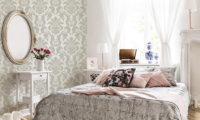Schlafzimmer im Glamour-Stil mit Fototapeten