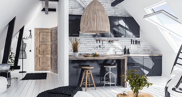 Dachgeschosswohnung und praktische Arrangements