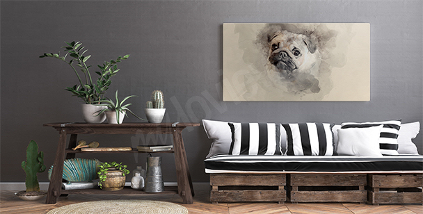 Bild Aquarell mit einem Hund