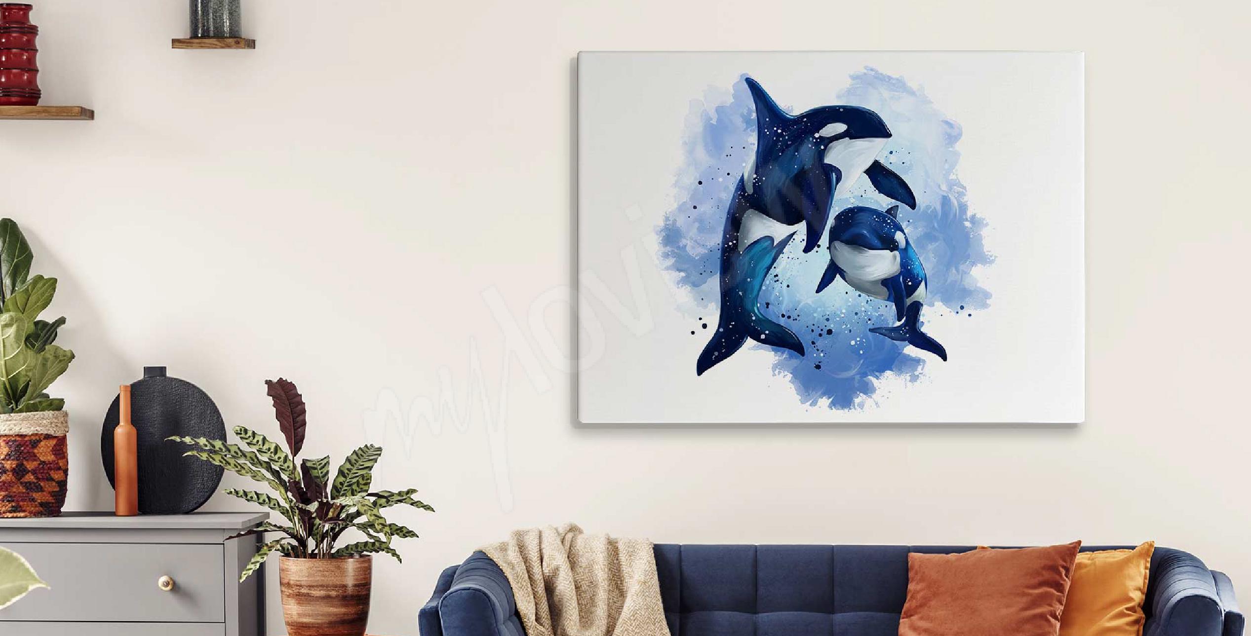 Bild Aquarell und Delfine