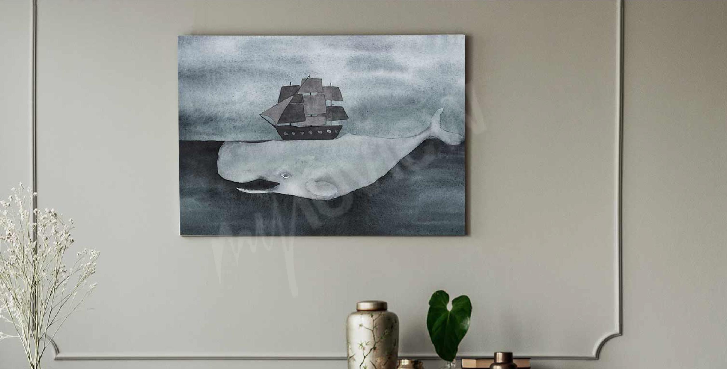 Bild Aquarell und Wal