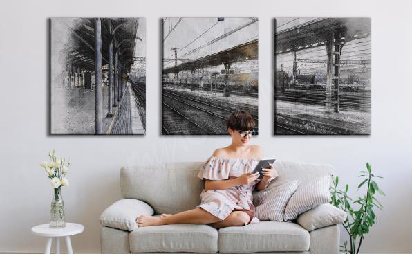 Bild Bahnhof in Form eines Triptychons