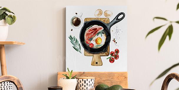 Bild Frühstück auf einer Bratpfanne