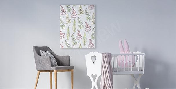 Bild für ein Mädchenzimmer Blätter