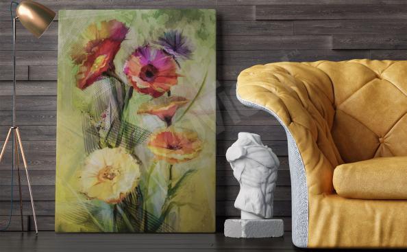 Bild für Wohnzimmer - Aquarellmalerei Blumen