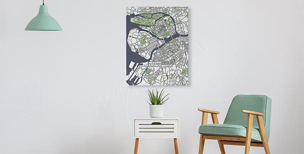 Bild fürs Wohnzimmer Stadtplan
