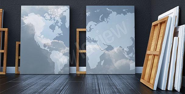 Bild hellblaue Weltkarte