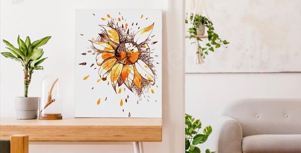 Bild Sonnenblume Schwarz-Weiß