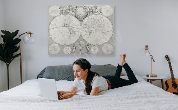 Bild Karte Retro für Schlafzimmer