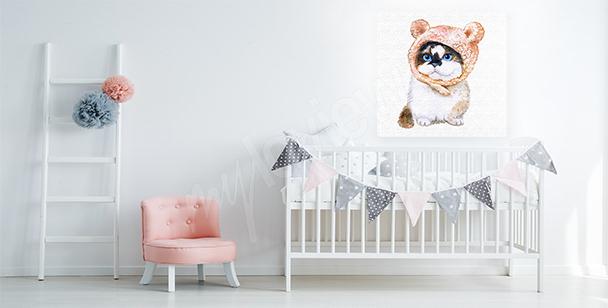 Bild weiße Katze für Schlafzimmer