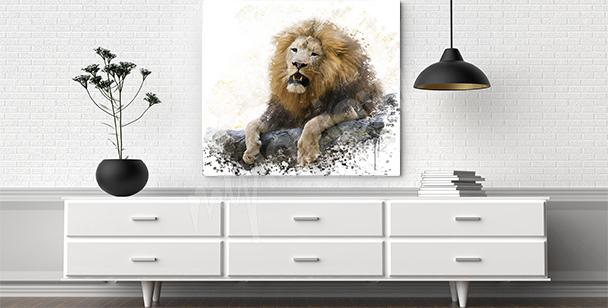 Bild Löwe auf Felsen