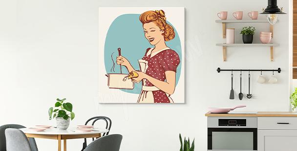 Bild mit einer Frau für die Küche