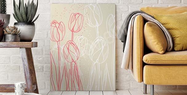 Bild mit einer Skizze von Blumen