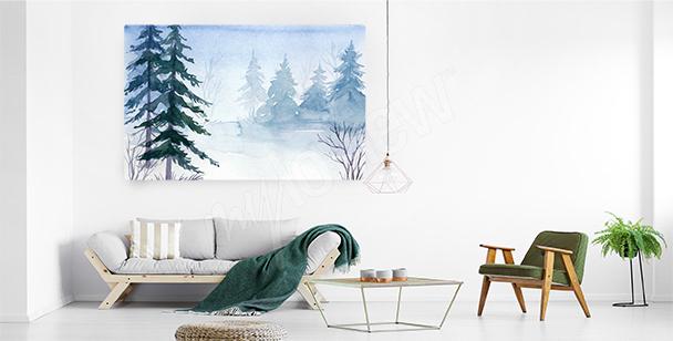 Bild mit Fichten im Schnee