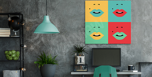 Bild mit Lippen in vier Farben