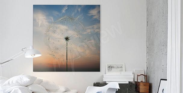 Bild mit Pusteblume für Schlafzimmer