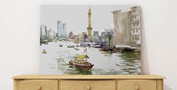 Bild mit Wasserfarben gemalte Stadt