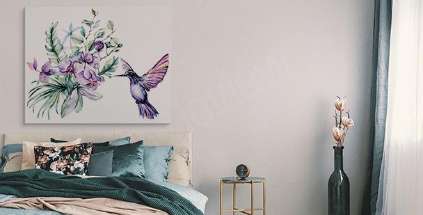 Bild Orchidee und Kolibri
