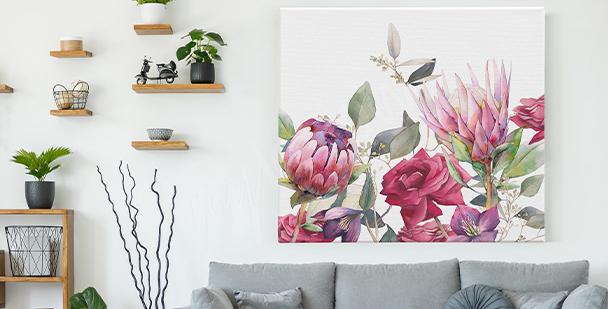 Bild mit Blumen im Vintage-Stil