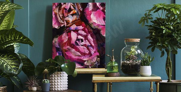 Bild Rosen auf dunklem Hintergrund gemalt