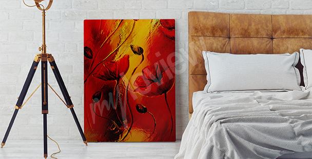Bild rote Mohnblumen für Schlafzimmer