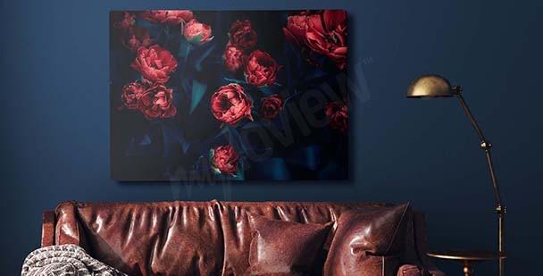 Bild rote Tulpen in der Dunkelheit