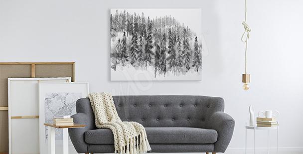 Bild schwarz-weißer Wald