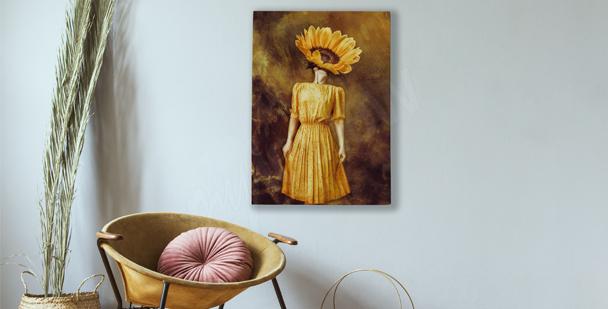 Bild Sonnenblume mit Frau