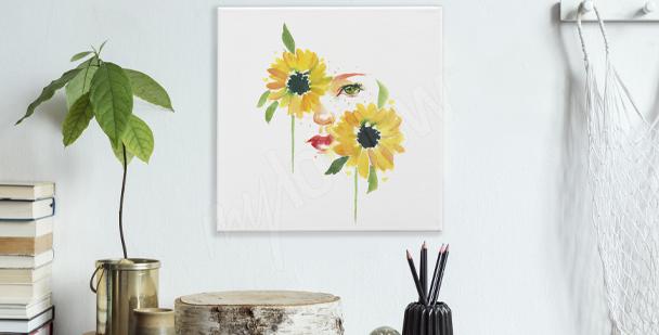 Bild Sonnenblumen und Frau