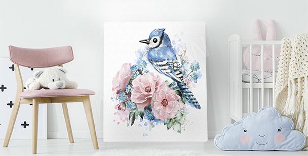 Bild Vogel und Rosen