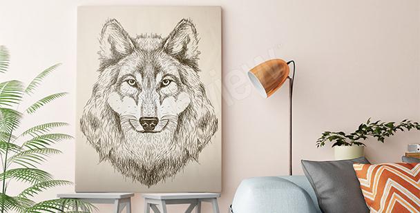 Bild Wolf in Schwarz und Weiß