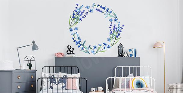 Blauer Sticker mit Lavendel