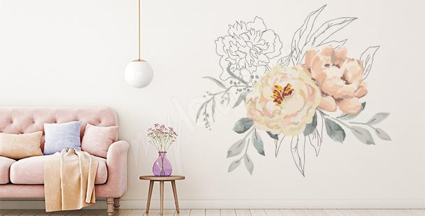 Blumensticker mit grafischen Elementen