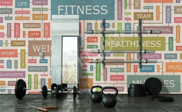 Bunte Fototapete fürs Fitnesszentrum