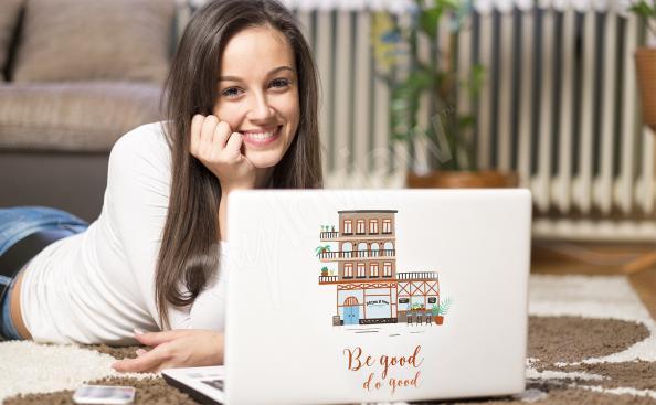 Bunte kleine Häuser – Sticker für den Laptop