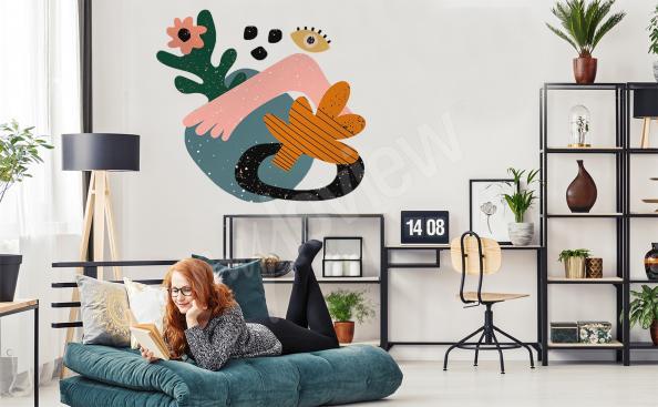 Bunter Sticker Abstraktion für das Wohnzimmer