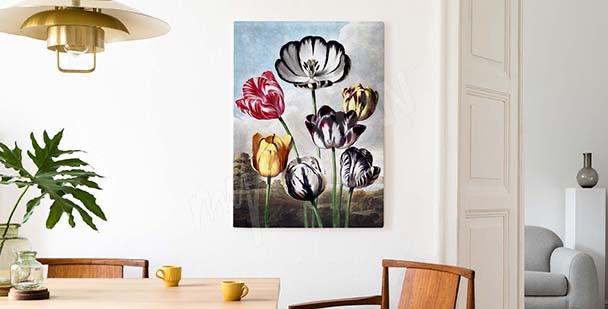 Buntes Bild Tulpen vor dem Himmel
