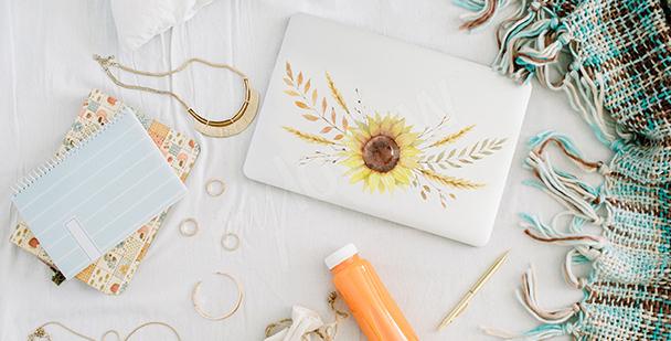 Dekorativer Sticker mit Sonnenblume
