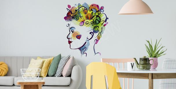 Farbenfroher Sticker mit Frau