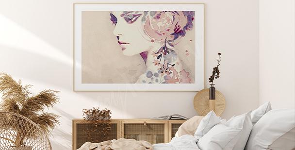 Feminines Poster in zarten Farben