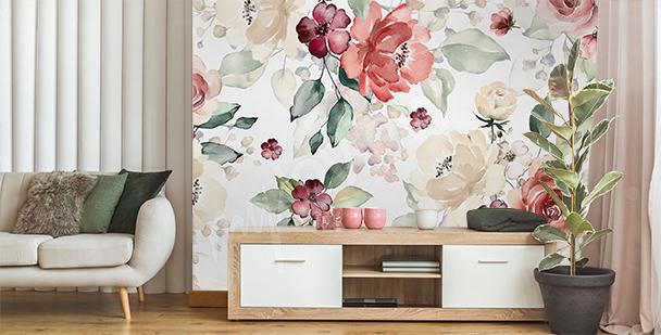 Florale Fototapete fürs Wohnzimmer