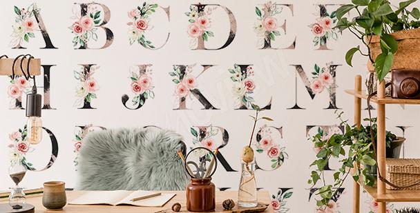 Florale Fototapete mit Alphabet-Motiv