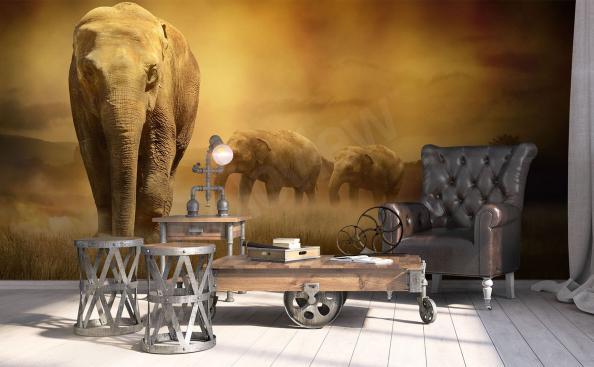Fototapete afrikanische Elefanten